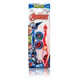 Marvel Comics Avengers rinkinys berniukams (2 vnt. danų šepetėliai + 2 vnt. dėklai)