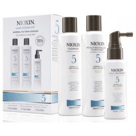 Nioxin Hair System 5 rinkinys ploniems ir normaliems plaukams (šampūnas + kondicionierius + gydomoji priemonė) 350 ml.