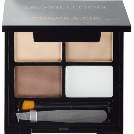 Makeup Revolution Focus & Fix Brow Kit antakių paletė Light Medium 4 g.