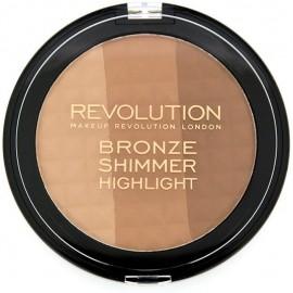 Makeup Revolution Bronze, Shimmer & Highlight bronzantas ir švytėjimo suteikianti pudra 15 g.