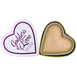 Makeup Revolution I Love Makeup Heart Highlighter švytėjimo suteikianti priemonė Golden Goddess 10 g.