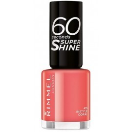 Rimmel 60 Seconds Super Shine Nail Polish greitai džiūstantis nagų lakas 415 Instyle Coral 8 ml.