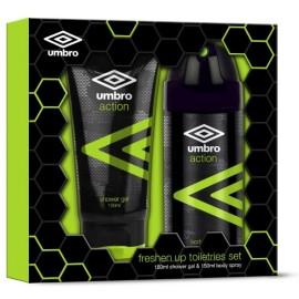 Umbro Action rinkinys vyrams (150 ml. purškiamas dezodorantas + 100 ml. dušo gelis)