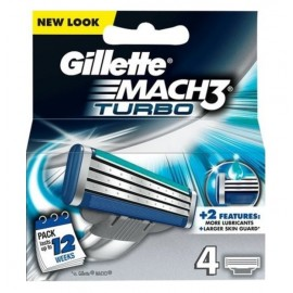 Gillette Mach3 Turbo skustuvo galvutės 4 vnt.