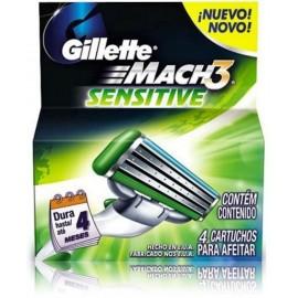 Gillette Mach3 Sensitive skustuvo galvutės 4 vnt.
