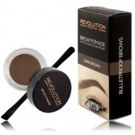 Makeup Revolution Brow Pomade priemonė antakiams su šepetėliu Dark Brown 2.5 g.
