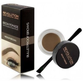 Makeup Revolution Brow Pomade priemonė antakiams su šepetėliu Medium Brown 2.5 g.