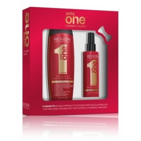 Revlon Uniq One rinkinys (150 ml. priemonė plaukų puoselėjimui + 300 ml. šampūnas)
