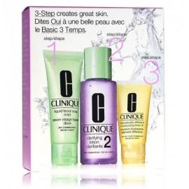 Clinique Travel 3 Step Skin Care System rinkinys veido priežiūrai (veido muilas+valomasis losjonas+drėkinamasis losjonas)