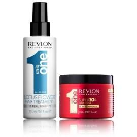 Revlon Uniq One Lotus rinkinys (150 ml. priemonė plaukų puoselėjimui + 300 ml. kaukė)