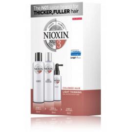 Nioxin System 3 rinkinys lengvai retėjantiems dažytiems plaukams (150 ml. šampūnas + 150 ml. kondicionierius + 50 ml. spec. priemonė)