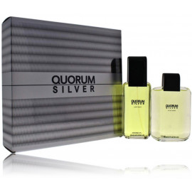 Antonio Puig Quorum Silver rinkinys vyrams (100 ml. EDT + balzamas)
