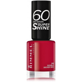 Rimmel 60 Seconds Super Shine Nail Polish greitai džiūstantis nagų lakas 310 Double Decker Red 8 ml.