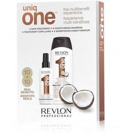 Revlon Uniq One Coconut rinkinys (150 ml. daugiafunkcė priemonė plaukų puoselėjimui + 300 ml. šampūnas)