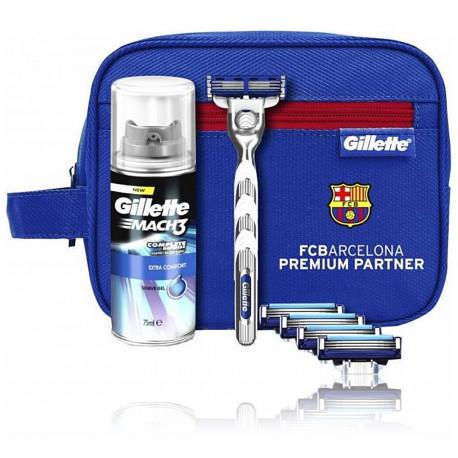 Gillette Mach3 Turbo FC Barcelona rinkinys vyrams (skustuvas + 5 vnt. skustuvo galvutės + 75 ml. Skutimosi gelis + kosmetinė)