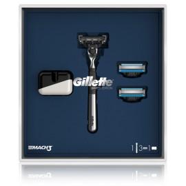 Gillette Mach3 Chrome Set rinkinys vyrams (skustuvas + 2. skustuvų galvutės + stovelis)