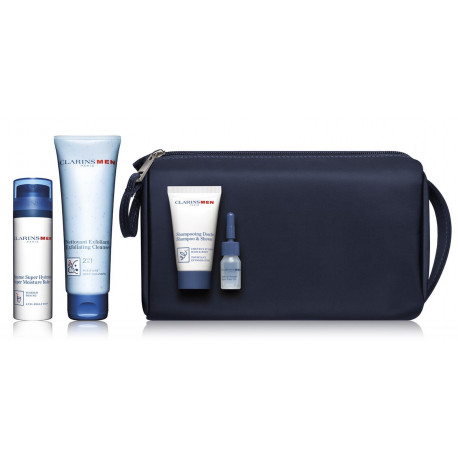 Clarins Men Everyday Heroes kūno priežiūros rinkinys vyrams (šveitiklis+ balzamas+ šampūnas+ aliejus+ krepšys) 208 ml.
