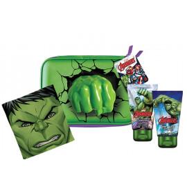 Marvel Avengers Hulk rinkinys vaikams (75 ml. dušo gelis + 75 ml. šampūnas + rankšluostis + kosmetinė)