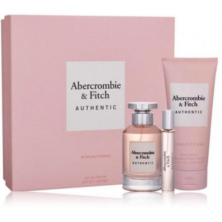 Abercrombie & Fitch Authentic Woman rinkinys moterims (100 ml. EDP + 15 ml. EDP + kūno losjonas 200 ml.)
