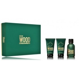 Dsquared2 Green Wood rinkinys vyrams (50 ml. EDT + 50 ml. dušo gelis + 50 ml. balzamas po skutimosi)
